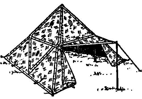 Проект стандартной четырехместной палатки из четырех плащ-палаток.